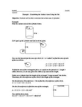 Surface Area of Cylinders Lesson Plan