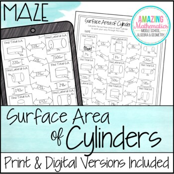 Surface Area of Cylinders Maze