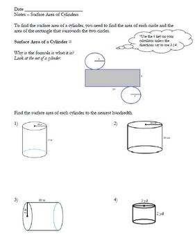 Surface Area of Cylinders - Notes & Homework