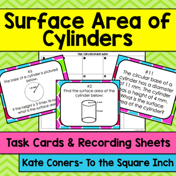 Surface Area of Cylinders Task Cards