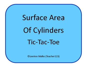 Surface Area of Cylinders Tic-Tac-Toe