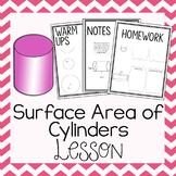 Surface Area of Cylinders~ Warm Up, Notes, & Homework