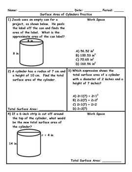Surface Area of Cylinders Word Problem Practice Plus Spiral Review