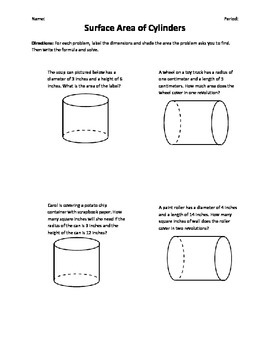 Surface Area of Cylinders Word Problems