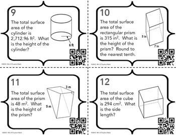 Surface Area of Cylinders and Prisms Task Cards