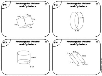 Surface Area of Cylinders and Rectangular Prisms Task Cards