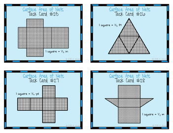 Surface Area of Nets Task Cards - Prisms and Pyramids - SCOOT