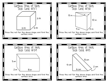 Surface Area of Nets Task Cards Prisms and Pyramids