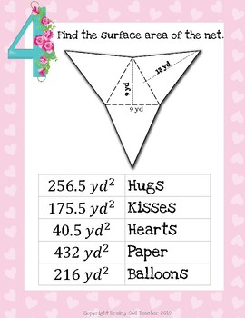 Surface Area of Nets Valentine's Day Math Silly Story