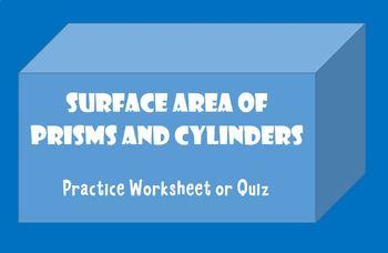 Surface Area of Prism Quiz Worksheet