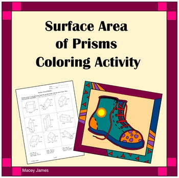 Surface Area of Prisms Coloring Activity