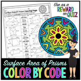 Surface Area of Prisms Math Color By Number or Quiz