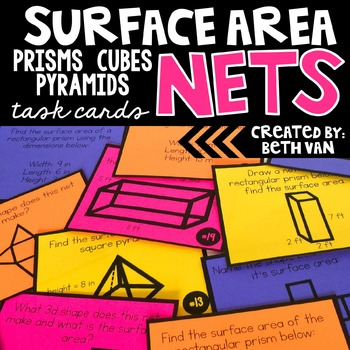 Surface Area of Prisms, Cubes, & Pyramids Using Nets Task Cards