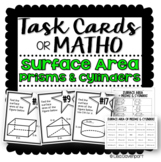 Surface Area of Prisms & Cylinders (Task Cards & MATHO)