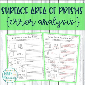 Surface Area of Prisms Error Analysis