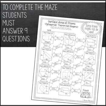 Surface Area of Prisms Maze