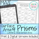 Surface Area of Prisms Maze Worksheet