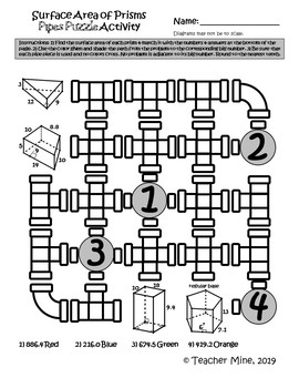 Surface Area of Prisms - Pipes Puzzle Activity