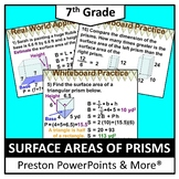 (7th) Surface Areas of Prisms in a PowerPoint Presentation