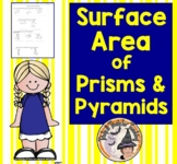 Surface Area of Prisms and Pyramids Nets Formulas Geometry Practice Worksheet