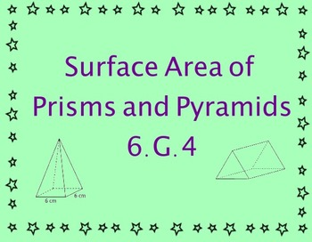 6.G.4  Surface Area of Prisms and Pyramids Lesson