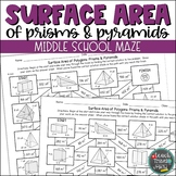 Surface Area of Prisms and Pyramids Maze