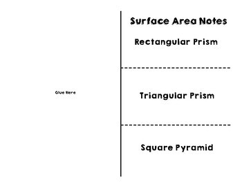Surface Area of Prisms and Pyramids Notes for Interactive Notebooks