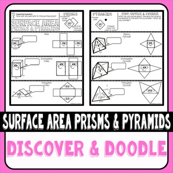 Surface Area of Prisms and Pyramids Using Nets Doodle Notes