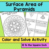 Surface Area of Pyramids Color and Solve
