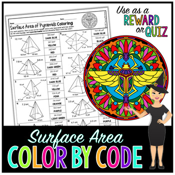 SURFACE AREA OF PYRAMIDS MATH COLOR BY NUMBER, QUIZ