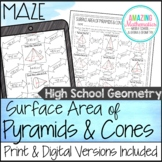 Surface Area of Pyramids & Cones Maze - HS Geometry