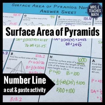 Surface Area of Pyramids Cut and Paste Activity by Mrs E Teaches Math