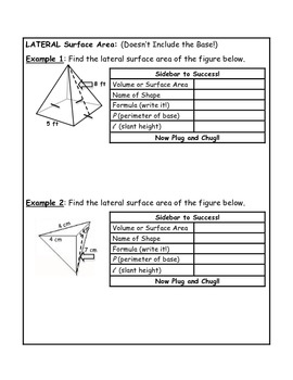 Surface Area of Pyramids Guided Notes
