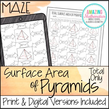 Surface Area of Pyramids Maze