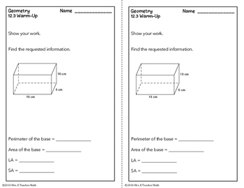 Surface Area of Pyramids and Cones Lesson