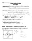 Surface Area of Pyramids with Nets - notes and practice