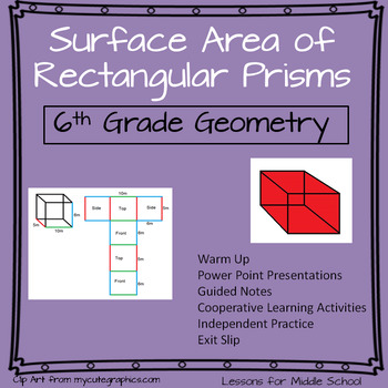 6th Grade Geometry:  Surface Area of Rectangular Prisms