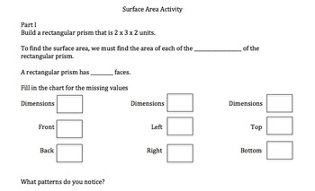 Surface Area of Rectangular Prisms Activity Bundle