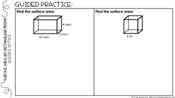 Surface Area of Rectangular Prisms Digital Math Notes