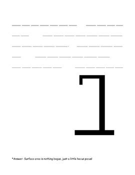 Surface Area of Rectangular Prisms Halloween Hangman Word Problems