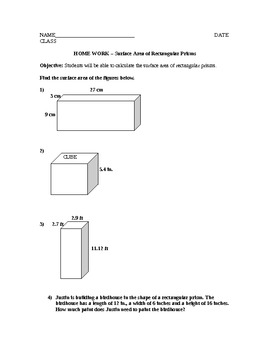 Surface Area of Rectangular Prisms Lesson Plan