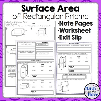 Surface Area of Rectangular Prisms - Notes, Practice and E