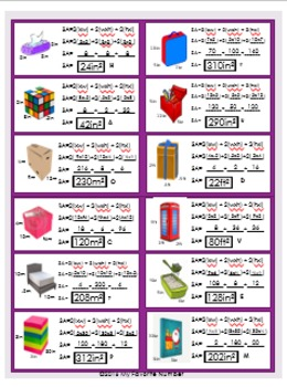 Finding Surface Area of Rectangular Prisms RIDDLE Activity Worksheets It's Fun!