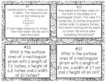 Surface Area of Rectangular Prisms Task Cards