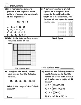 Surface Area of Rectangular Prisms Word Problem Practice Plus Spiral Review