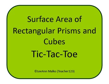 Surface Area of Rectangular Prisms and Cubes Tic-Tac-Toe