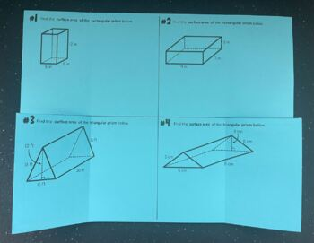 Surface Area of Rectangular & Triangular Prisms (Foldable)