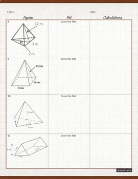 Surface Area of Solids using Nets