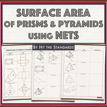 Surface Area of Solids using Nets by HIT THE STANDARDS | TpT