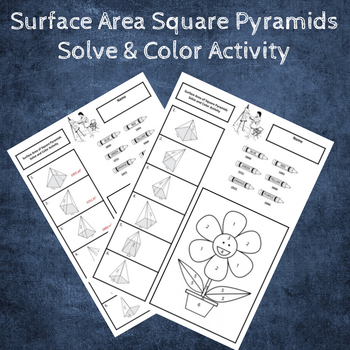 Surface Area of Square Pyramids Solve & Color Activity